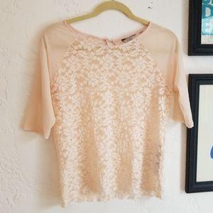 Guess Sz M EUC Lace Pale Pink Top